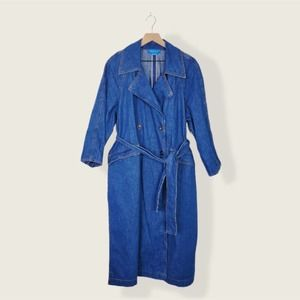 M.i.h Jeans Belted 100% Cotton Denim Trench Coat